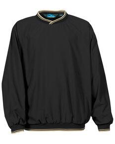 Tri-Mountain Men's Black & Khaki Atlantic Trimmed Microfiber Wind Work Sweatshirt - Tall, Black, hi-res