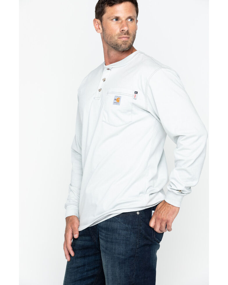 Carhartt Men's FR Solid Long Sleeve Work Henley Shirt - Big & Tall, Lt Grey, hi-res