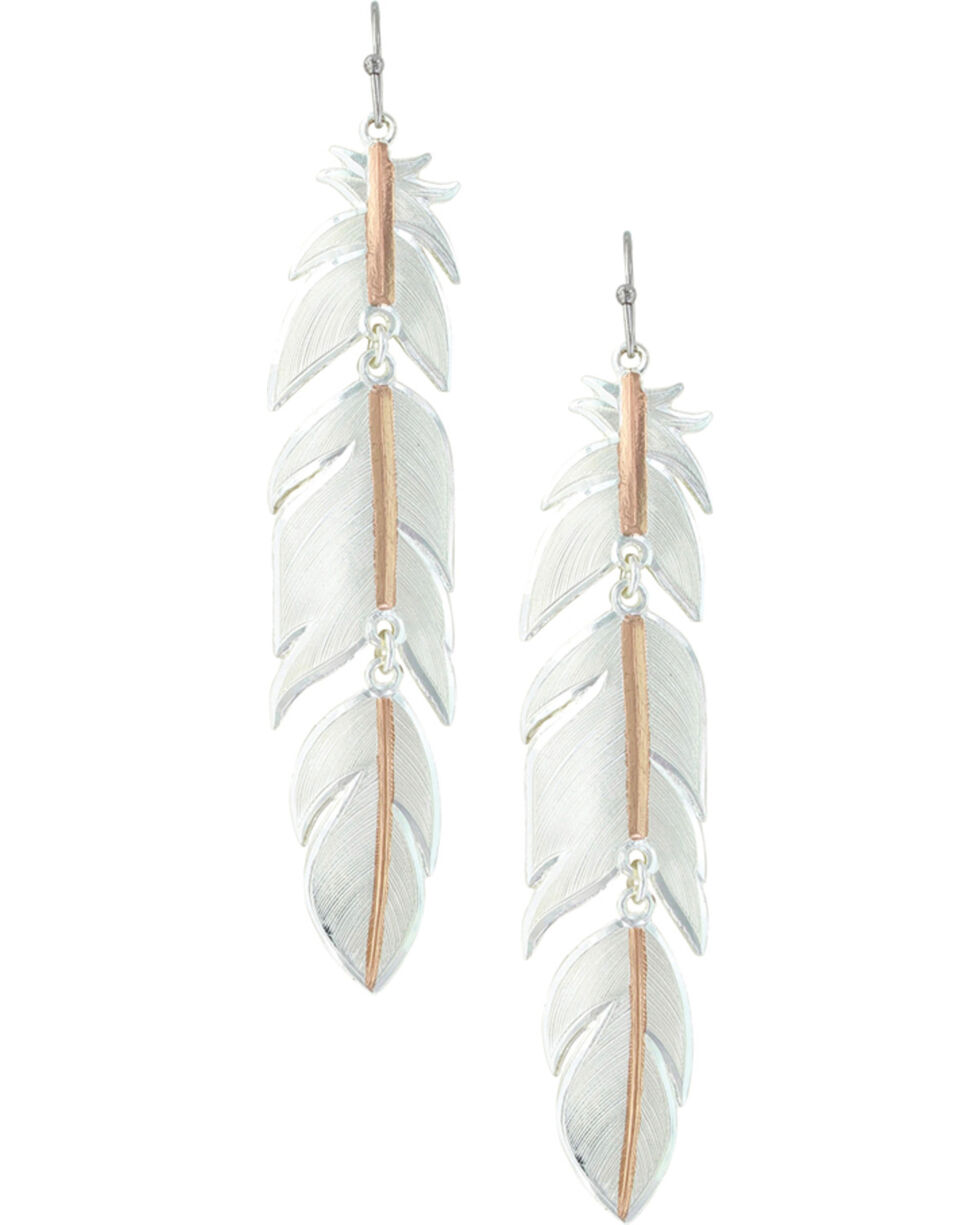 Montana Silversmiths Women's Rose Gold Plume Feather Earrings , Silver, hi-res