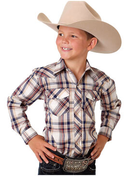 Roper Boys' Classic Plaid Western Shirt, Multi, hi-res