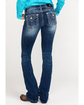 Miss Me Women's Sign Stitch Med Boot Jeans , Blue, hi-res