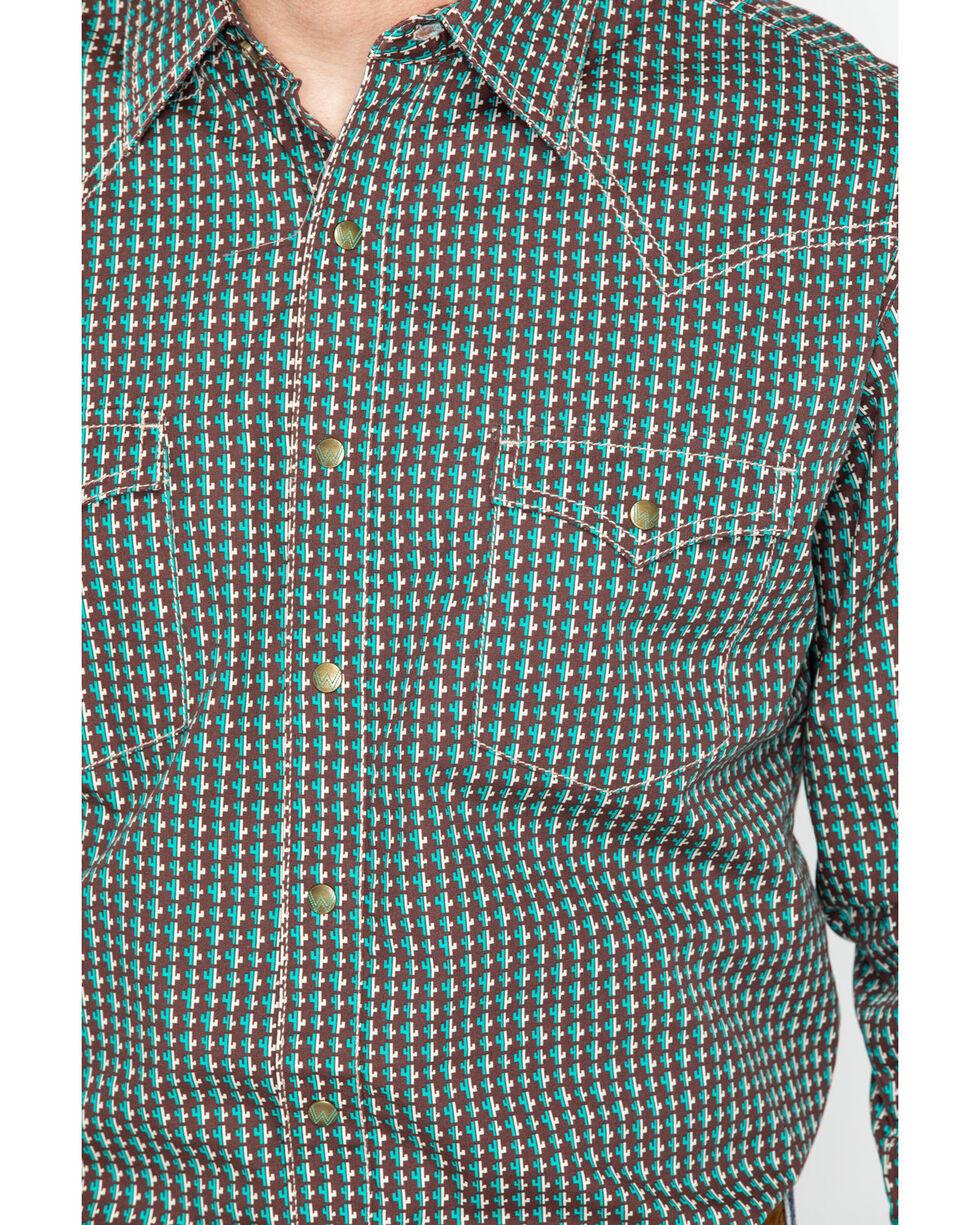 Wrangler Men's Brown Retro Printed Long Sleeve Shirt , Brown, hi-res