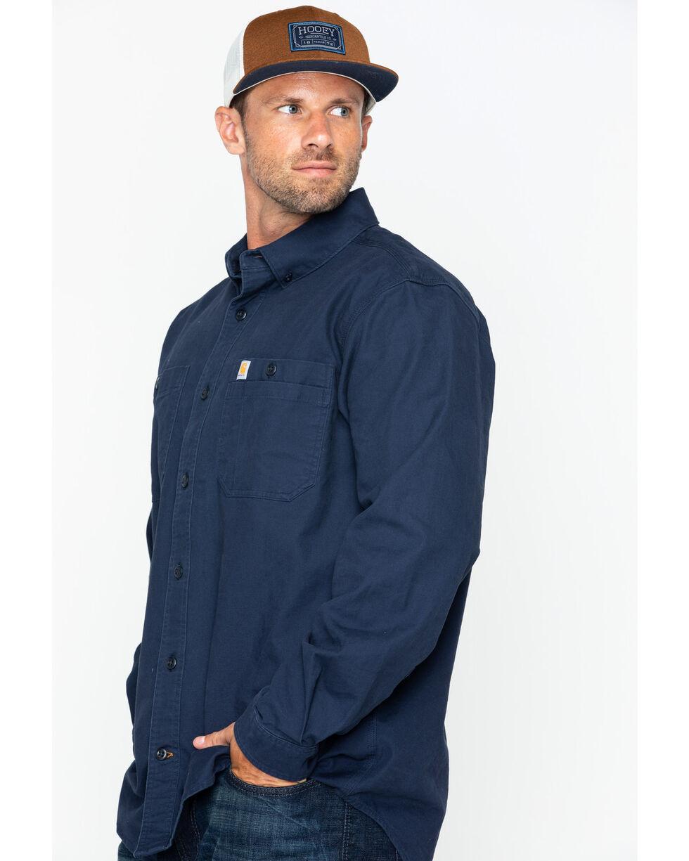 Carhartt Men's Rugged Flex Rigby Work Shirt, Navy, hi-res