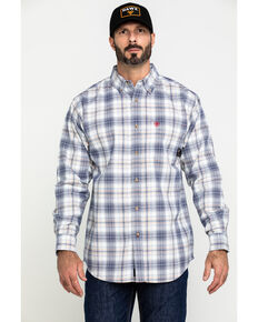 Ariat Men's FR White Foraker Plaid Long Sleeve Work Shirt - Tall , No Color, hi-res