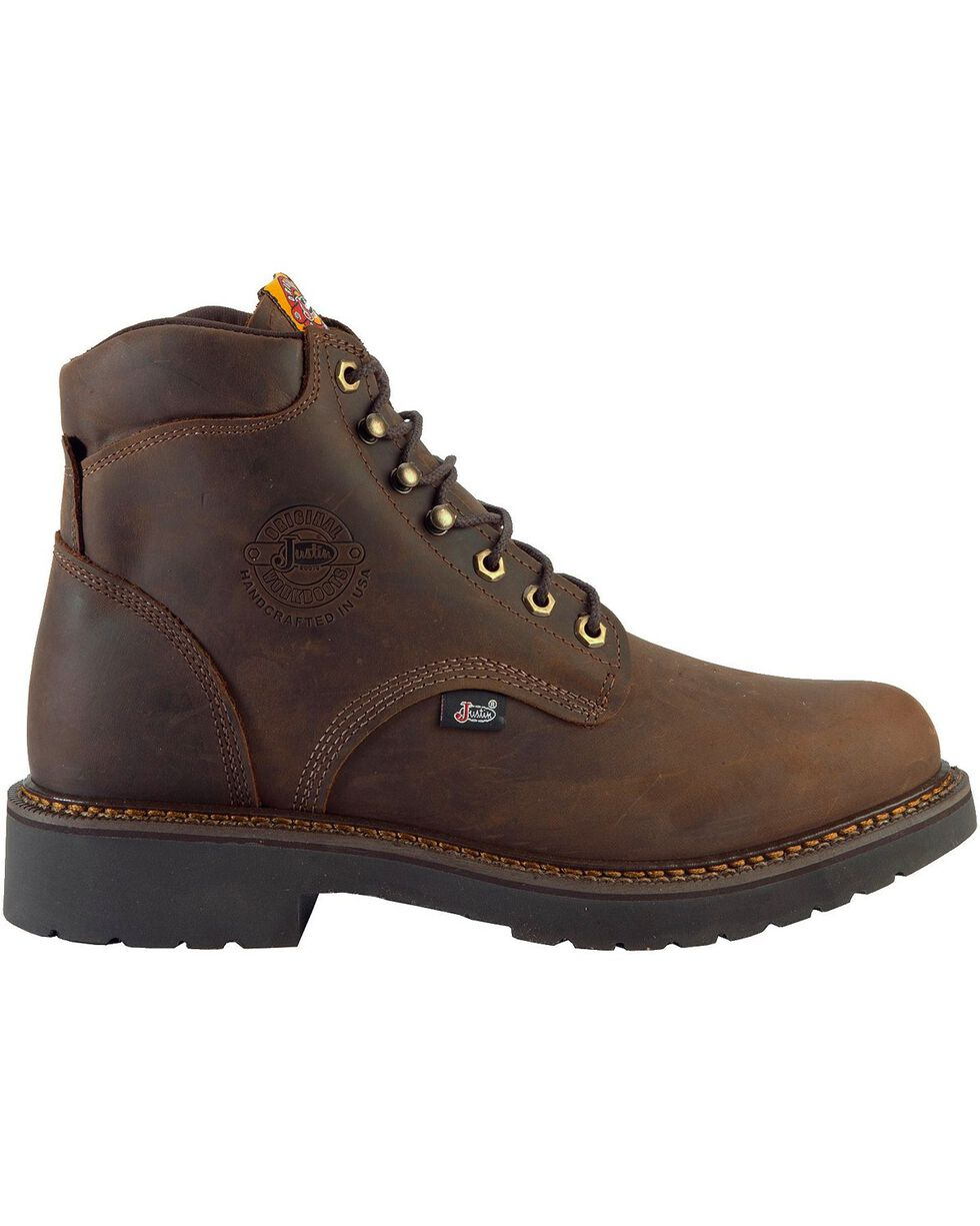 "Justin Men's J-Max Rugged Gaucho 6"" Lace-Up Work Boots, Brown, hi-res"