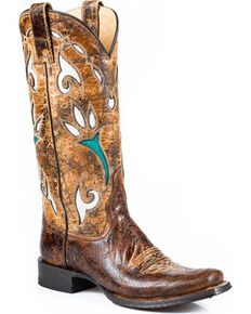Stetson Women's Cowgirl Tulip Western Boots, Brown, hi-res