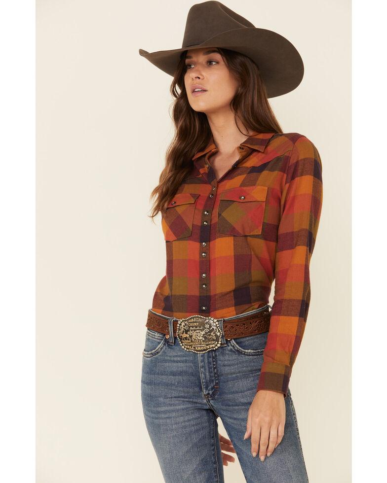Shyanne Life Women's Cognac Pecan Plaid Long Sleeve Western Flannel Shirt , Pecan, hi-res