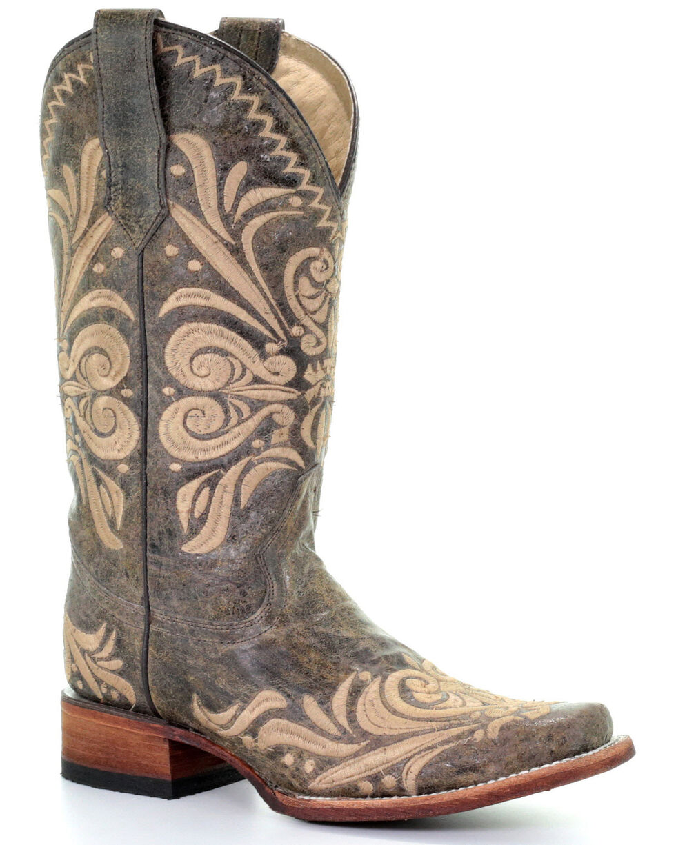 Circle G Women's Filigree Western Boots - Square Toe, Green, hi-res
