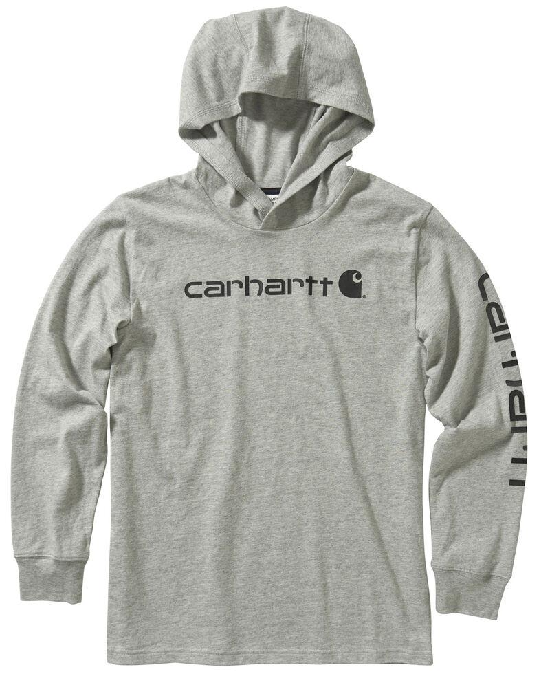 Carhartt Youth Boys' Grey Logo Sleeve Hooded Sweatshirt , Grey, hi-res