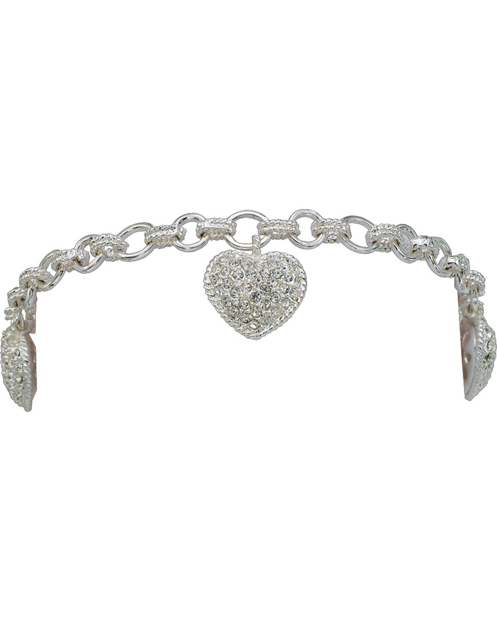 Montana Silversmiths Puffy Pave Heart Bracelet, Silver, hi-res
