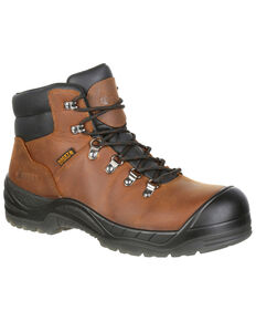 "Rocky Men's Worksmart Waterproof 5"" Work Boots - Composite Toe, Brown, hi-res"