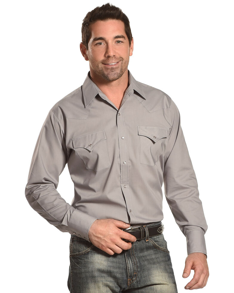 Ely Cattleman Men's Solid White Long Sleeve Western Shirt - Big & Tall , Grey, hi-res