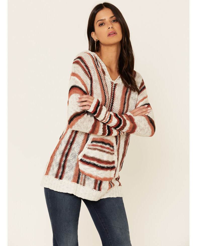 Rock & Roll Denim Women's Serape Striped Hooded Sweatshirt , Rust Copper, hi-res