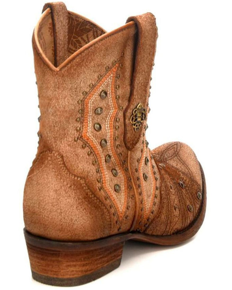 Corral Women's Bone Embroidery & Studs Short Western Boots - Round Toe, Ivory, hi-res