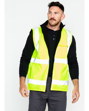 Hawx Men's Reversible Reflective Work Vest - Big and Tall, Yellow, hi-res