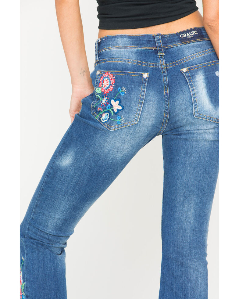Grace in LA Women's Floral Embroidered Cropped Bootcut Jeans, Blue, hi-res