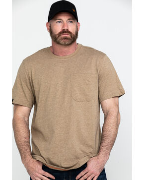 Hawx Men's Tan Pocket Crew Short Sleeve Work T-Shirt - Big , Tan, hi-res