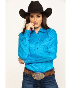 Cinch Women's Blue Tonal Geo Print Button Long Sleeve Western Shirt, Blue, hi-res