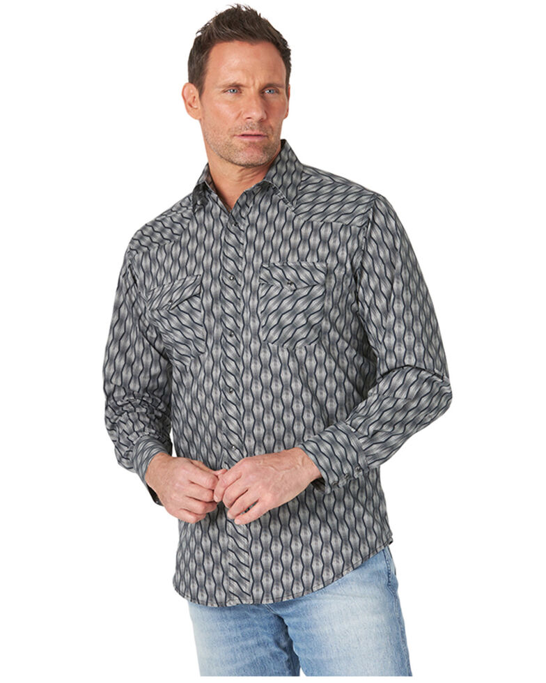 Wrangler Men's Silver Edition Grey Aztec Stripe Long Sleeve Snap Western Shirt , Grey, hi-res