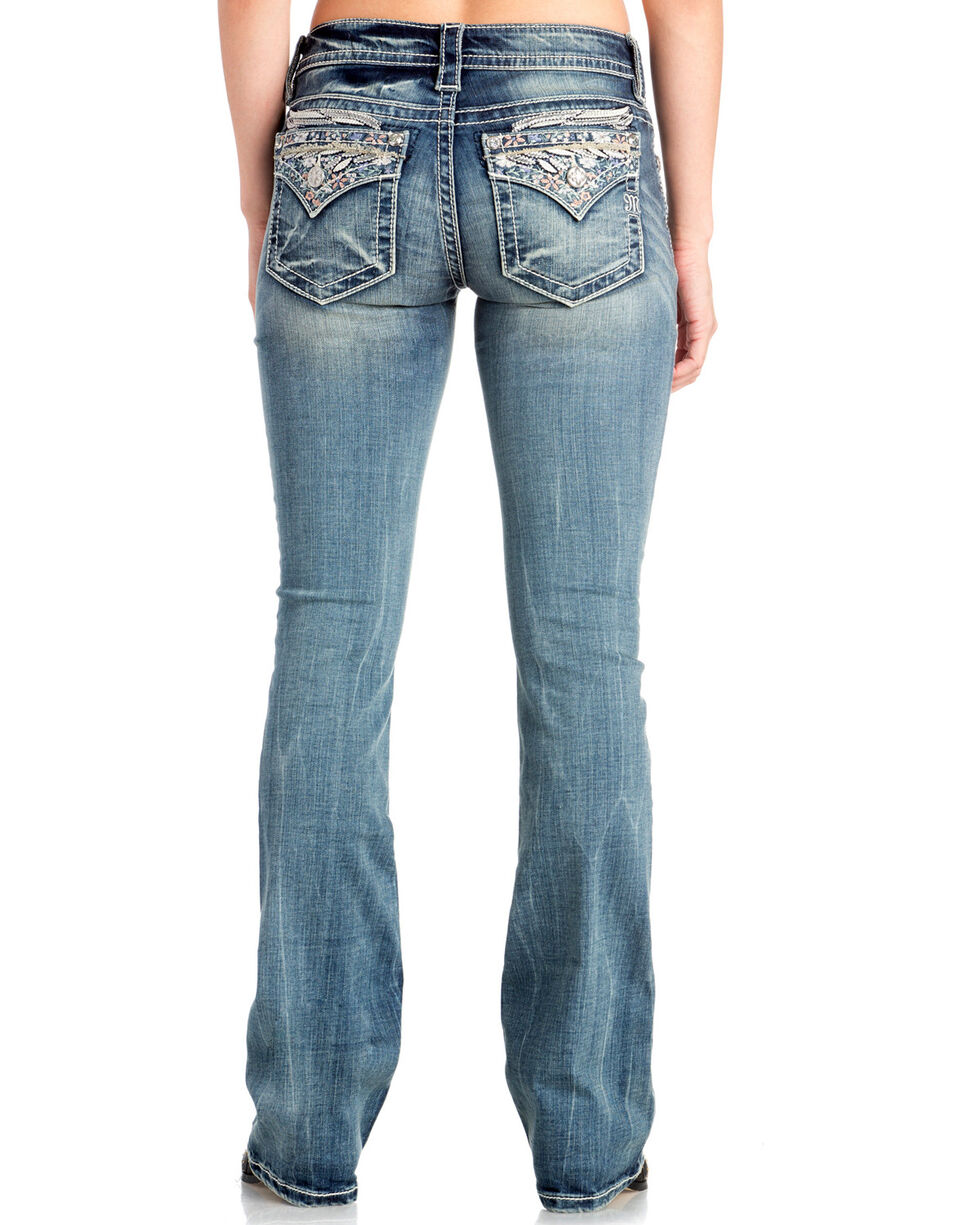 Miss Me Women's Angel Wing Faux Flap Boot Cut Jeans , Indigo, hi-res