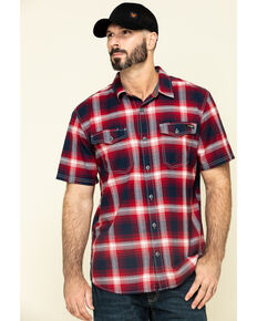 Hawx Men's Bullhead Indigo Plaid Short Sleeve Work Shirt , Black Cherry, hi-res