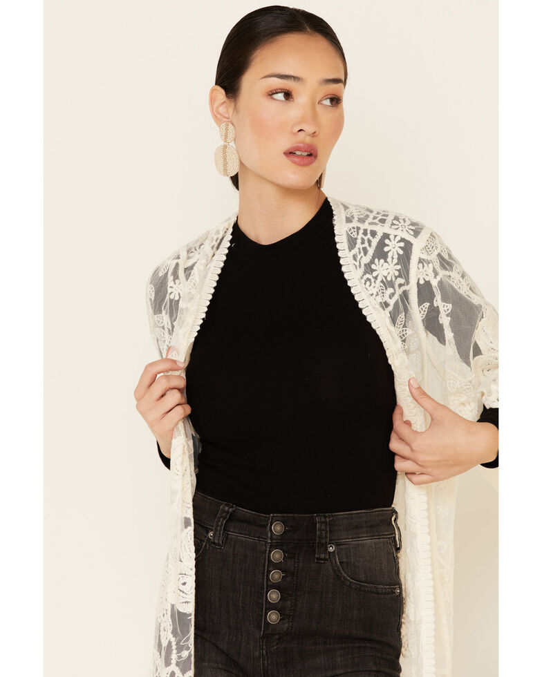 Shyanne Women's Lace Duster Kimono, Ivory, hi-res