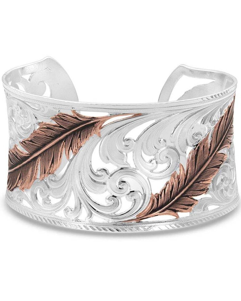 Montana Silversmiths Women's Heavenly Whispers Feather Cuff Bracelet, Silver, hi-res