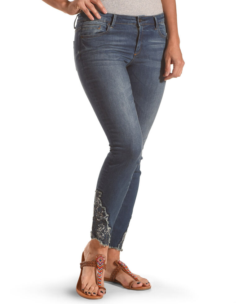 Tractr Blu Women's Mother Nature Embroidered Crop Ankle Skinny Jeans, Indigo, hi-res