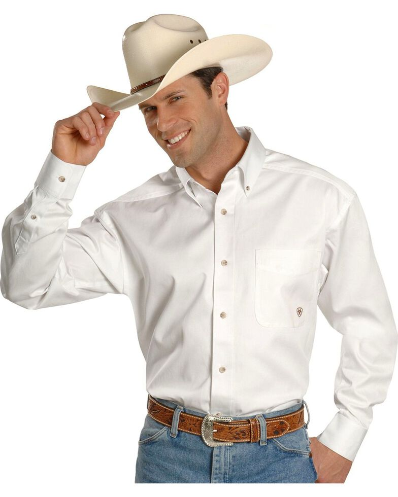 Ariat Twill Cowboy Shirt - Big & Tall, White, hi-res