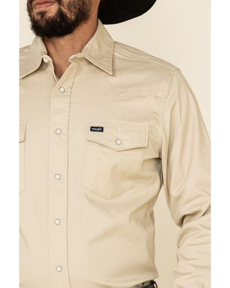 Wrangler Men's Advanced Comfort Long Sleeve Western Shirt, Sand, hi-res