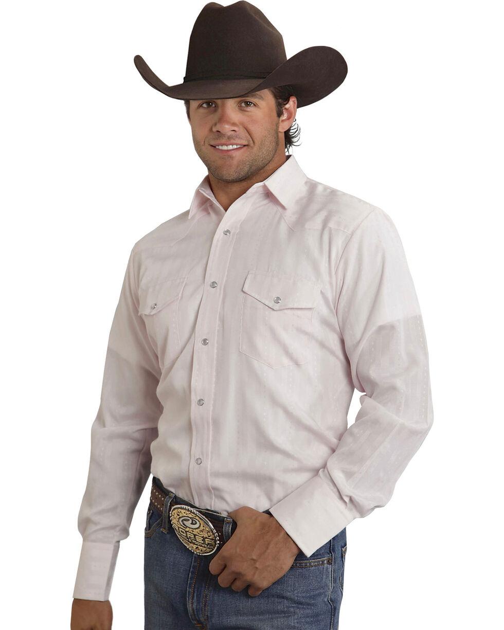 Roper Men's Tone on Tone Diamond Dobby Western Shirt, Pink, hi-res