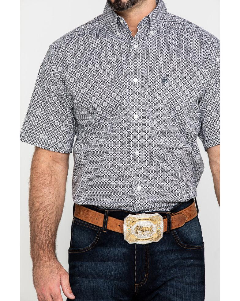 Ariat Men's Kit Stretch Geo Print Short Sleeve Western Shirt , White, hi-res