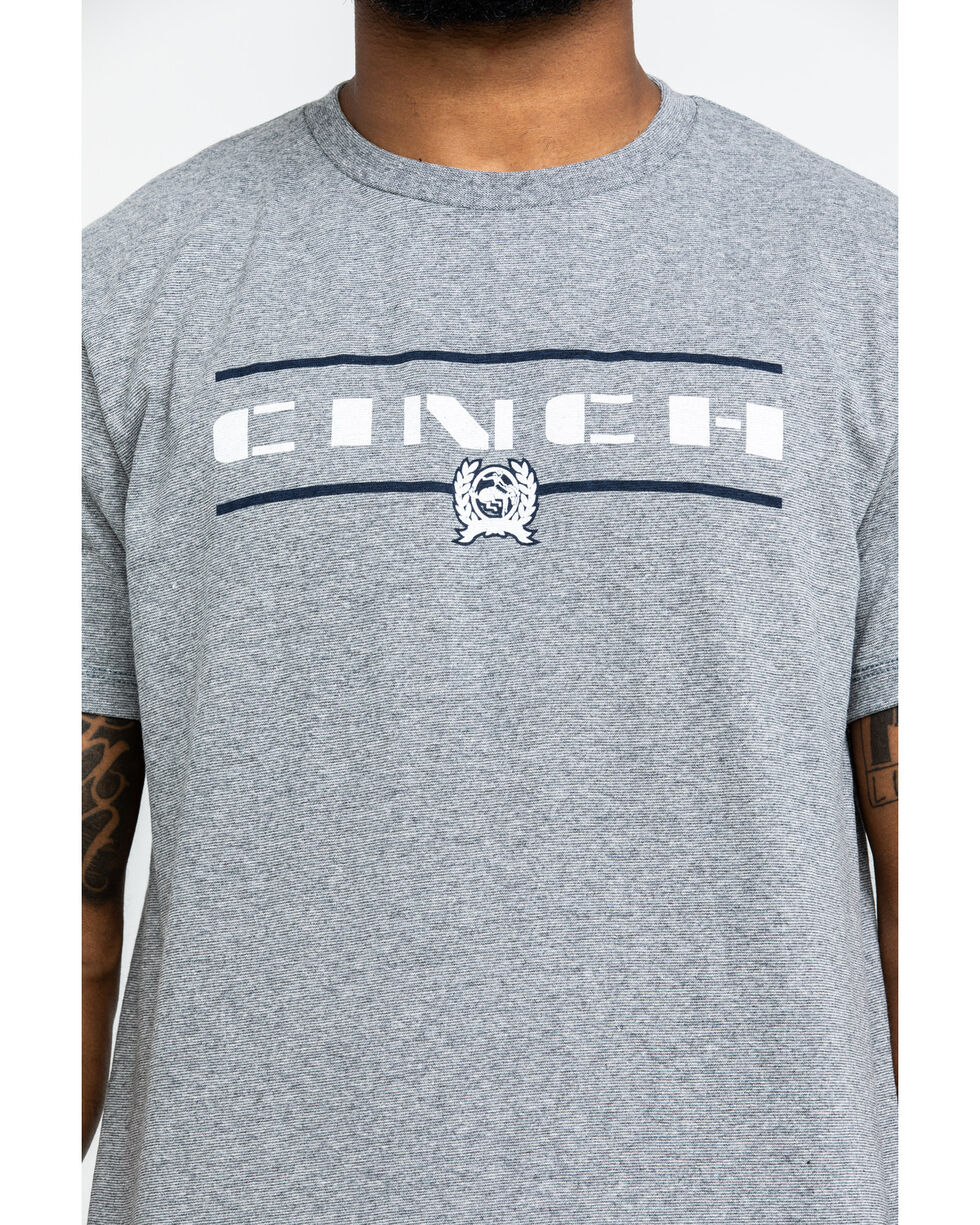 Cinch Men's Solid Logo Graphic Tee , Heather Grey, hi-res