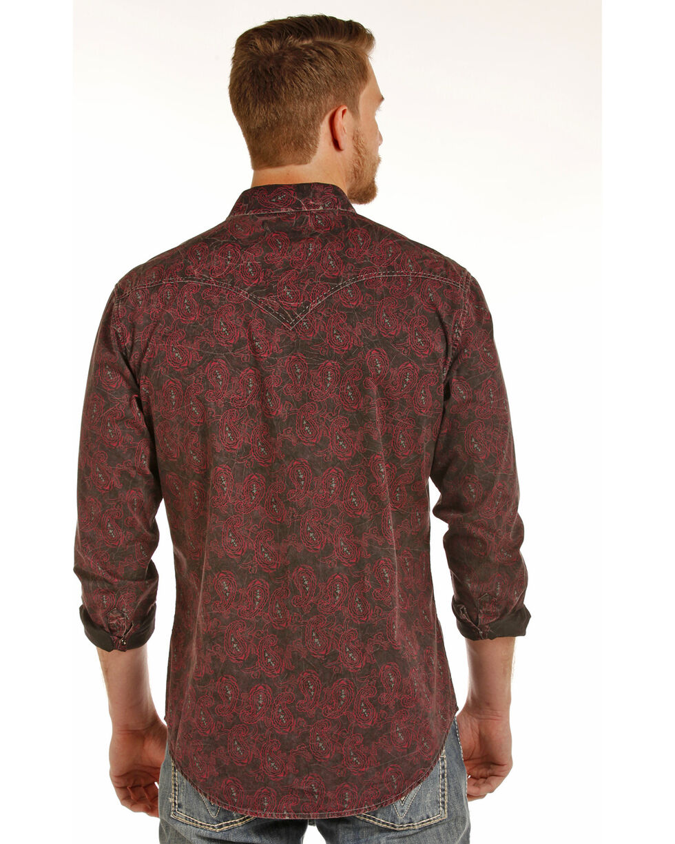 Rock & Roll Cowboy Men's Paisley Print Shirt , Red, hi-res