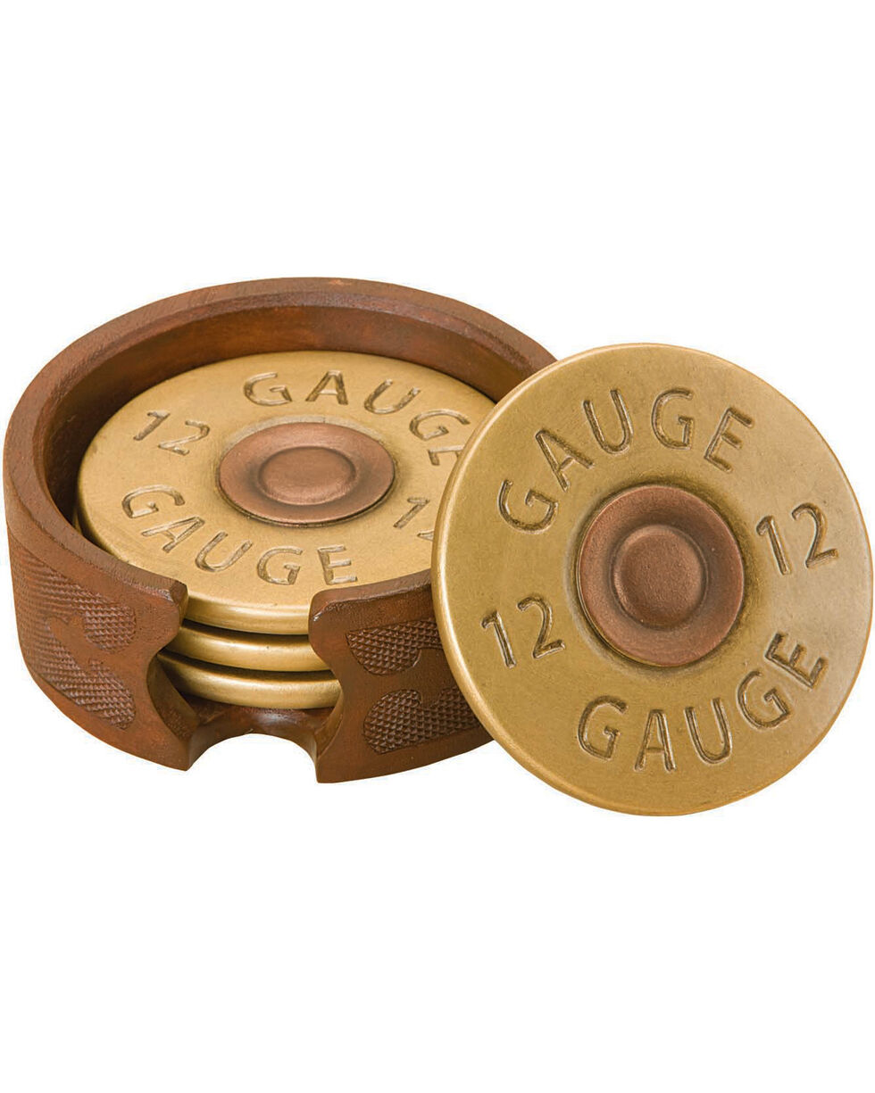 Big Sky Carvers 12 Gauge Shot Gun Shell Coasters, Gold, hi-res