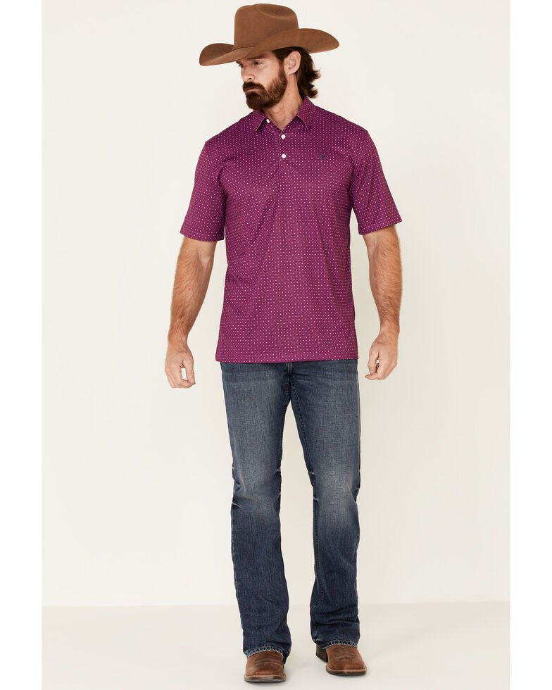 Ariat Men's Imperial Violet Geo Print Short Sleeve Polo Shirt , Purple, hi-res