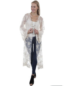 Honey Creek by Scully Women's Ivory Lace Long Sleeve Duster, Ivory, hi-res