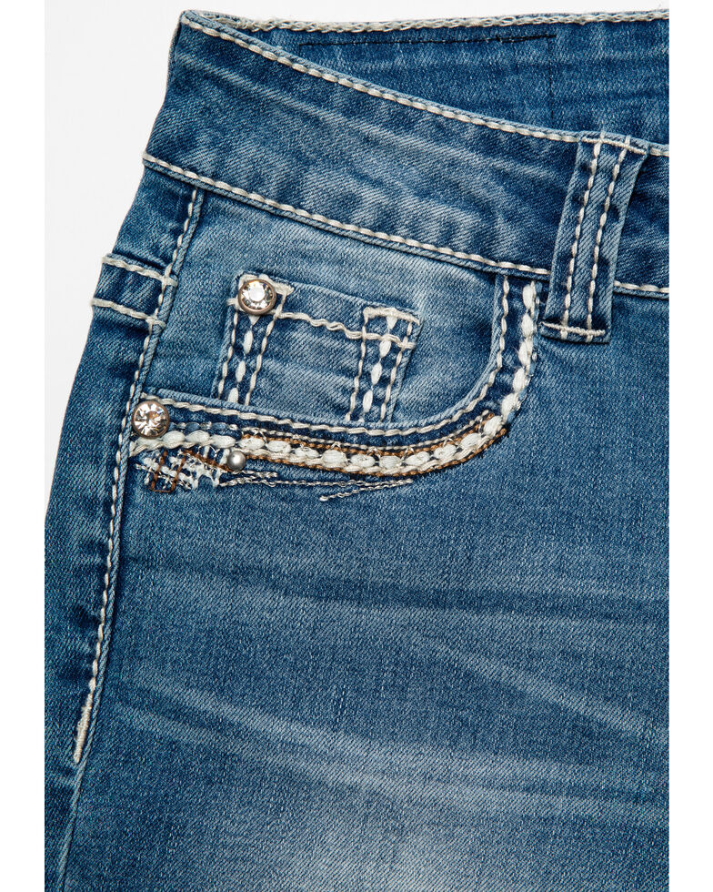 Shyanne Girls' Aztec Pattern Pocket Bootcut Jeans, Blue, hi-res