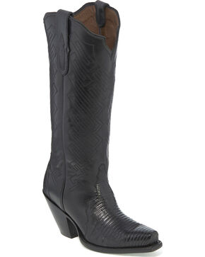 Tony Lama Women's Black Teju Lizard Cowgirl Boots - Snip Toe, Black, hi-res