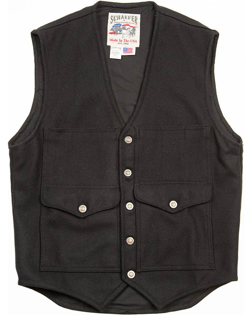 Schaefer Outfitter Men's Black Scout Melton Wool Vest - 3XL, Black, hi-res