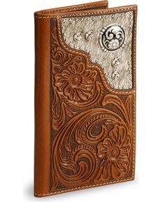 Nocona Men's Rodeo Wallet and Checkbook Cover, Brown, hi-res