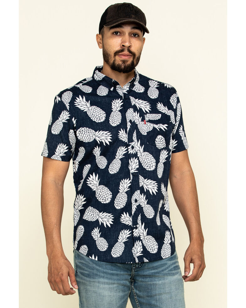 Levi's Men's Navy Maverick Print Short Sleeve Western Shirt , Navy, hi-res