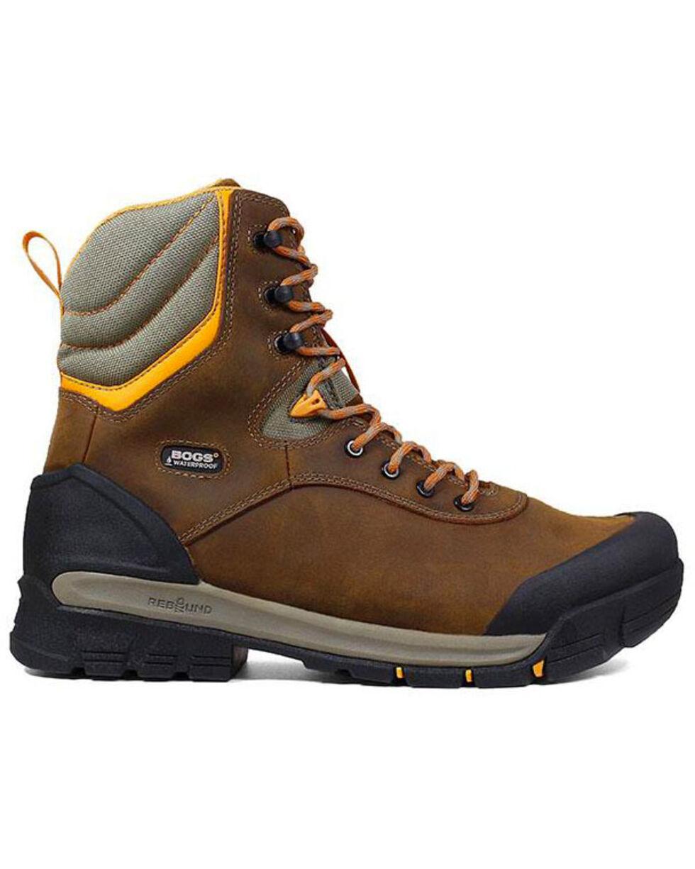 """Bogs Men's Bedrock 8"""" Waterproof Work Boots - Round Toe, Brown, hi-res"""