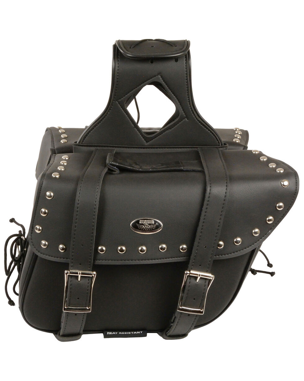 Milwaukee Leather Medium Zip-Off Slanted Throw Over Studded Saddle Bag, Black, hi-res