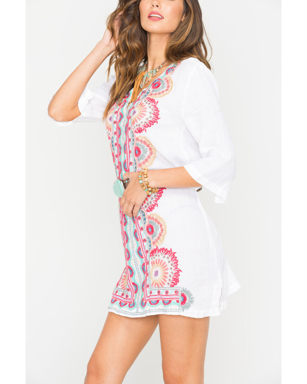 Johnny Was Women's White Murray Short Kaftan , White, hi-res