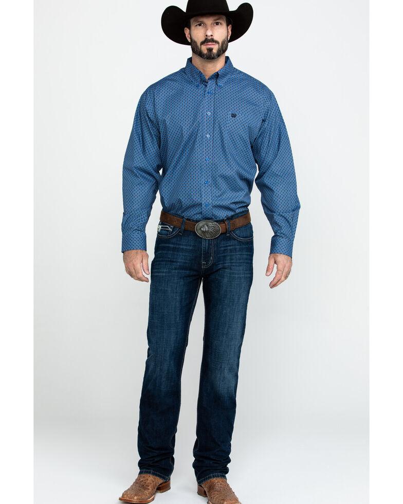 Cinch Men's Light Blue Mixed Geo Print Long Sleeve Western Shirt , Light Blue, hi-res