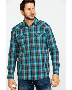 Moonshine Spirit Men's Cobalt Plaid Long Sleeve Western Shirt , Black/turquoise, hi-res