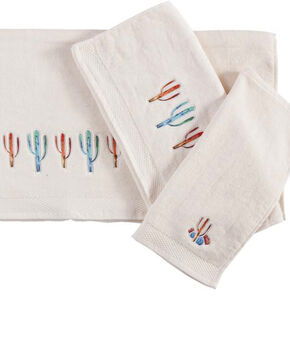 HiEnd Accents Embroidered Cactus Towels - 3 Pieces , Cream, hi-res