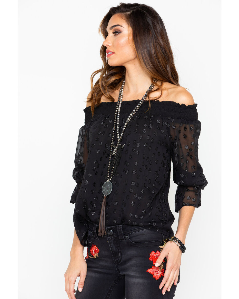 Miss Me Women's Metallic Jacquard Off The Shoulder Trumpet Long Sleeve Top , Black, hi-res