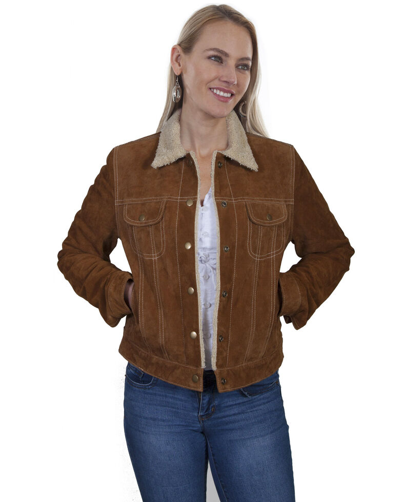 Scully Women's Faux Shearling Jean Jacket, Brown, hi-res